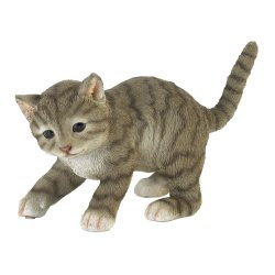 Cute Gray Playing Kitty Cat Garden Figurine