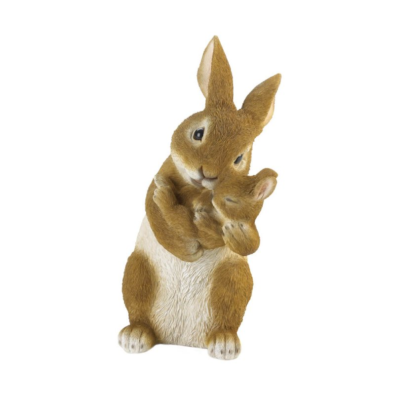 Image 0 of Bonding Time Mom Rabbit Hugging Baby Bunny Garden Figurine