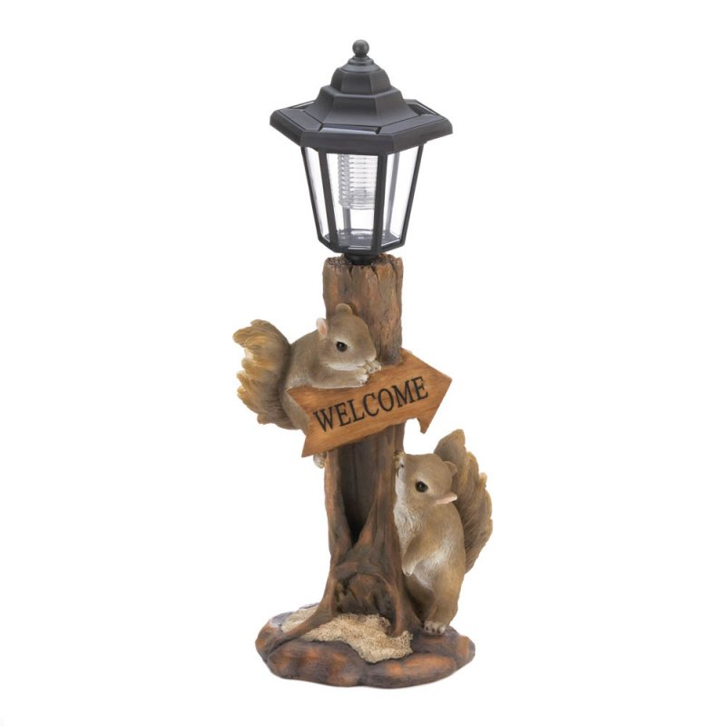Image 0 of Two Friendly Squirrels on a Tree Trunk Base Solar Lamp Post Garden Figurine