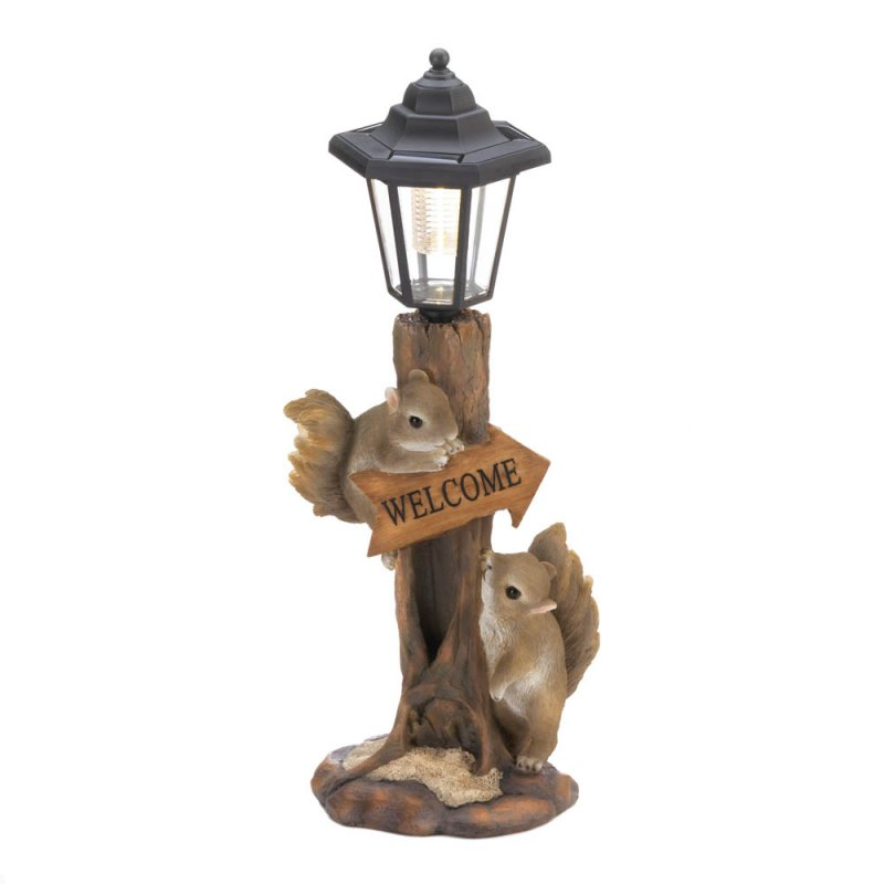 Image 1 of Two Friendly Squirrels on a Tree Trunk Base Solar Lamp Post Garden Figurine