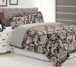 3-pc Full/Queen Superior Overbrook Paisley Dark Brown Duvet Cover & Sham Set