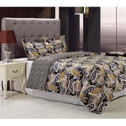 3-Piece Midnight Black with Blue & Yellow Paisley Print Duvet Cover Set