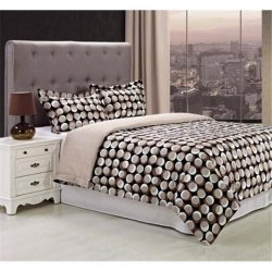 3-Piece Monroe Black w/ Brown Abstract Circles Print Duvet Cover Set