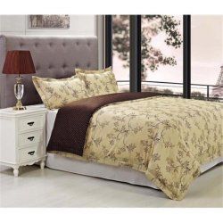 3-Piece Woodhaven Brown & Beige Reversible Duvet Cover Set Sateen Finish