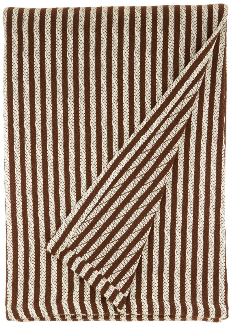 Image 0 of Superior Twin/Twin XL Ivory & Chocolate Brown Striped 100% Cotton Blanket