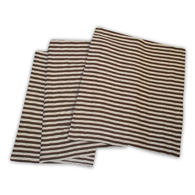 Image 1 of Superior Twin/Twin XL Ivory & Chocolate Brown Striped 100% Cotton Blanket