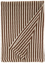 Superior Twin/Twin XL Ivory & Chocolate Brown Striped 100% Cotton Blanket