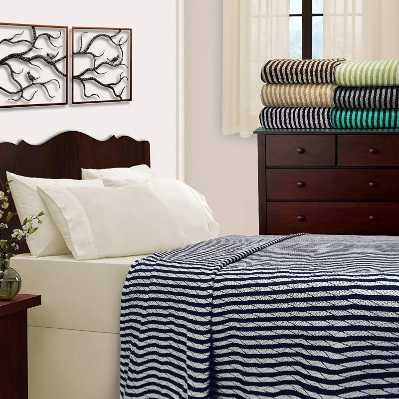 Image 0 of Superior Full/Queen All Season Striped 100% Cotton Blanket