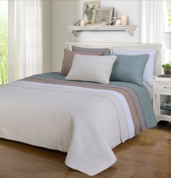 3-pc Full/Queen Superior Channing Rose Stitched Quit & Pillow Sham Set