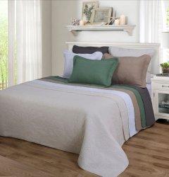 3-pc Full/Queen Superior Corrington Floral Stitched Quilt & Pillow Shams