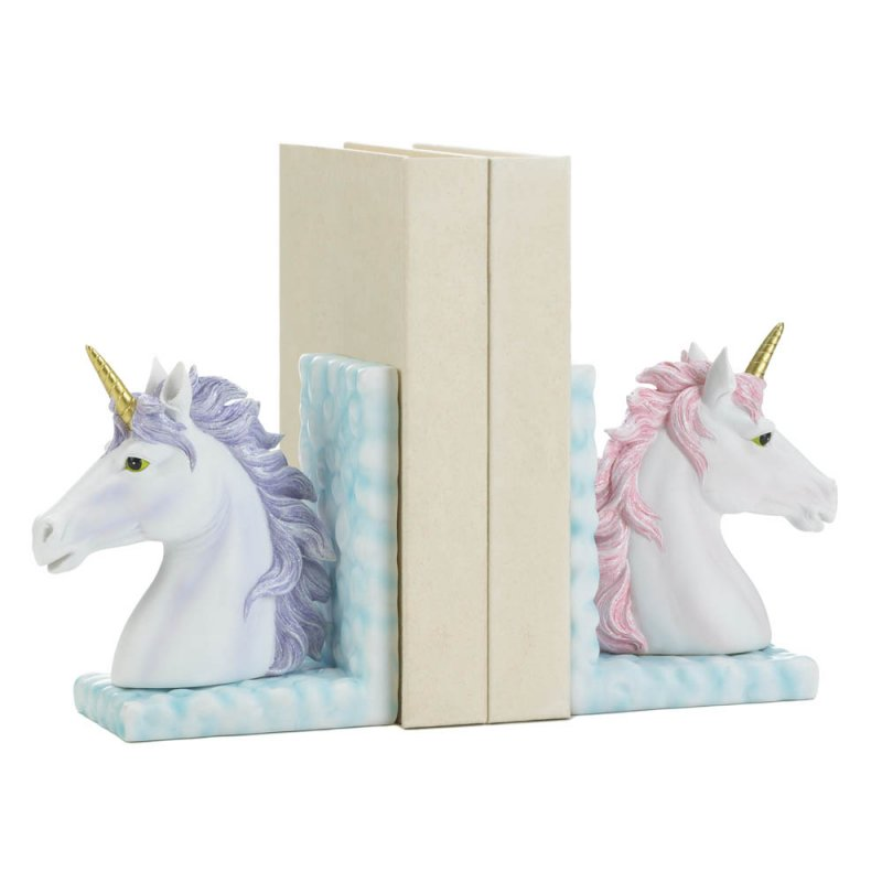 Image 1 of Magical White Unicorn Bookends w/ Lavender & Pink Manes