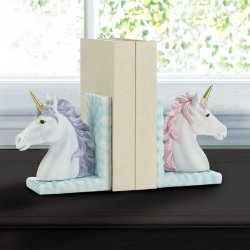 Magical White Unicorn Bookends w/ Lavender & Pink Manes