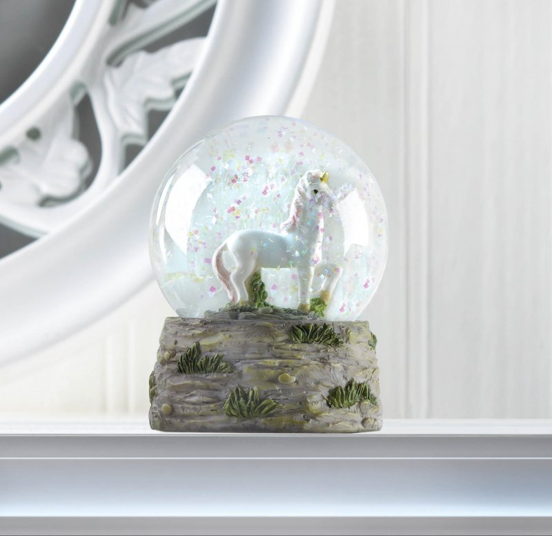 Image 0 of Prancing White Unicorn Mini Snow Globe w/ Pink Mane