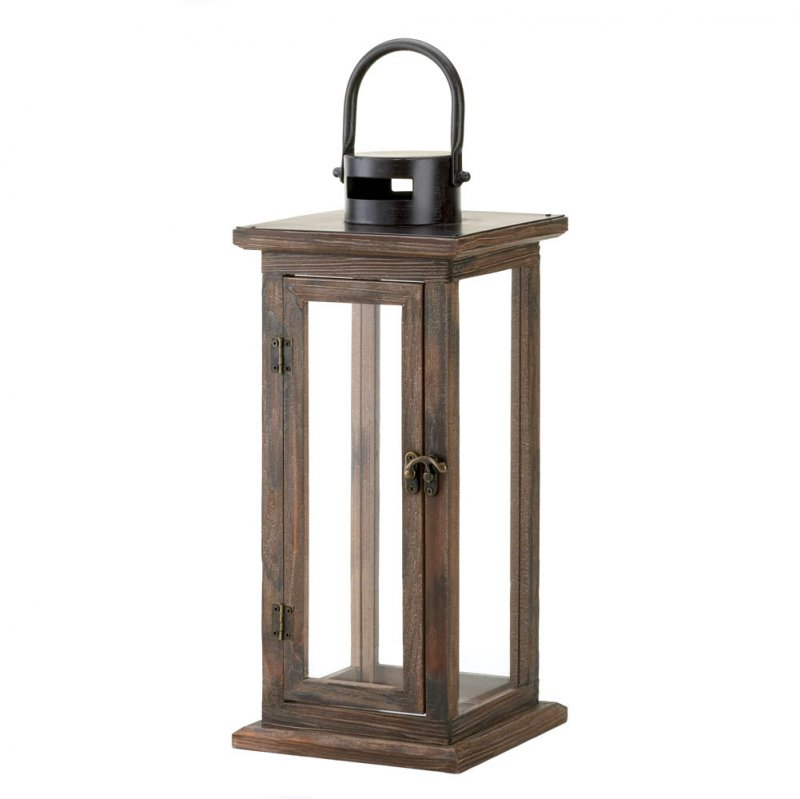 Image 1 of Perfect Lodge Candle Lantern Stained Wood w/ Clear Glass Panels  15.8