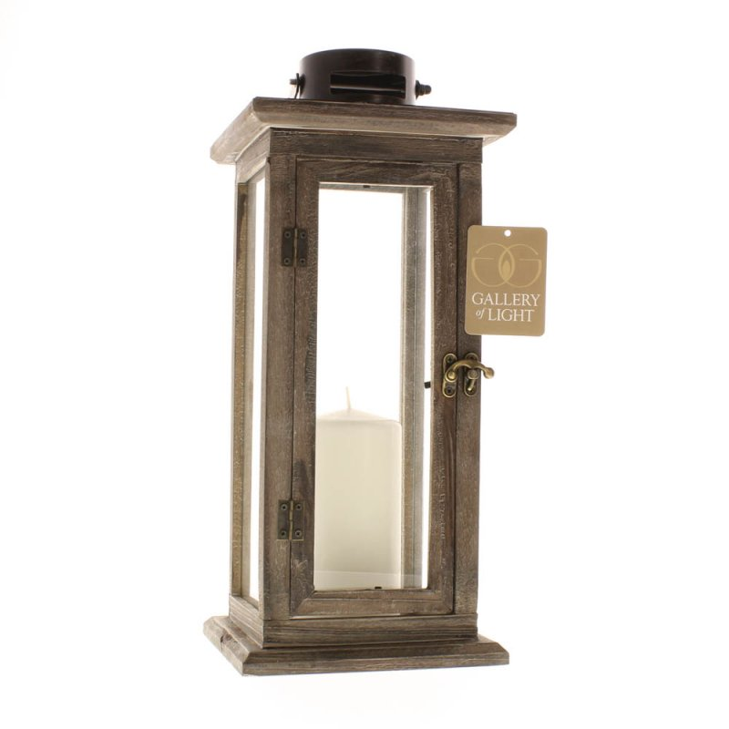 Image 2 of Perfect Lodge Candle Lantern Stained Wood w/ Clear Glass Panels  15.8