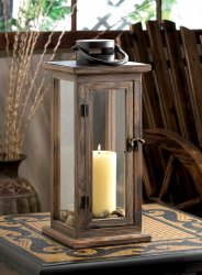 Perfect Lodge Candle Lantern Stained Wood w/ Clear Glass Panels  15.8 High