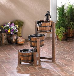 Garden Water Fountain Three Tier Cascading Apple Barrel w/ Black Iron Pump