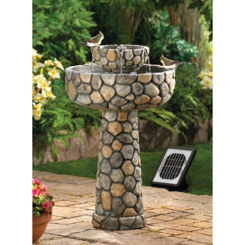 Image 0 of Solar Wishing Well Water Fountain Faux Cobblestone Garden Decor