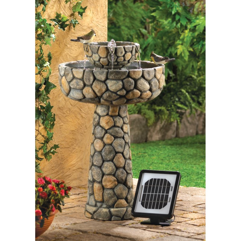 Image 1 of Solar Wishing Well Water Fountain Faux Cobblestone Garden Decor