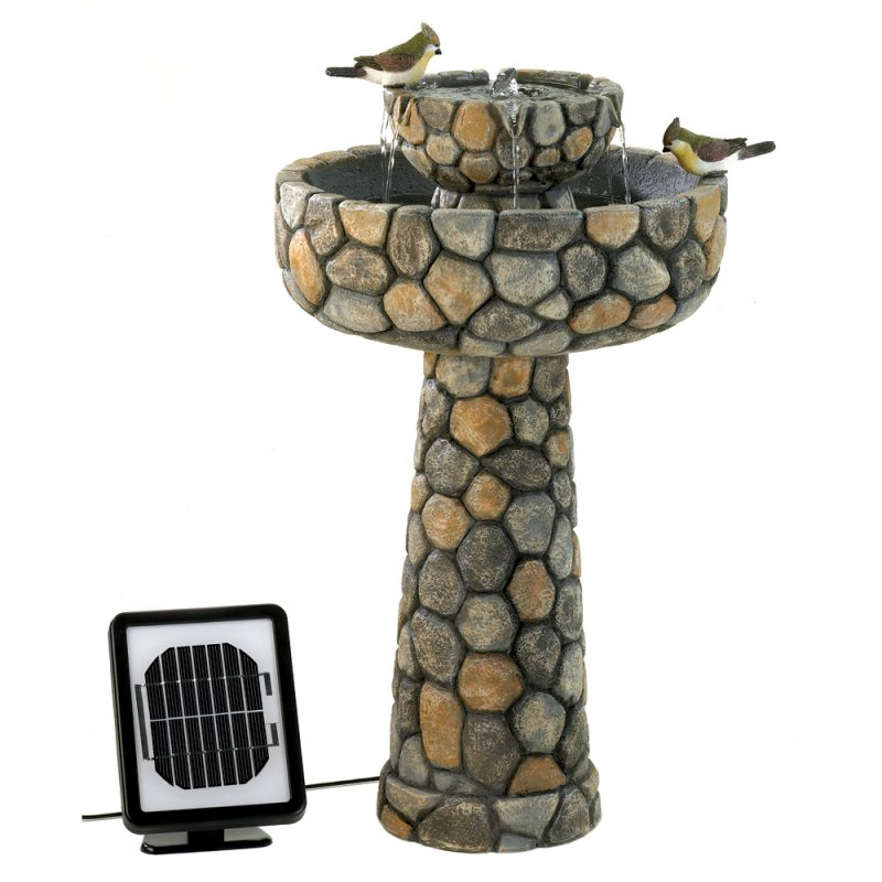 Image 2 of Solar Wishing Well Water Fountain Faux Cobblestone Garden Decor