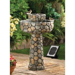 Solar Wishing Well Water Fountain Faux Cobblestone Garden Decor