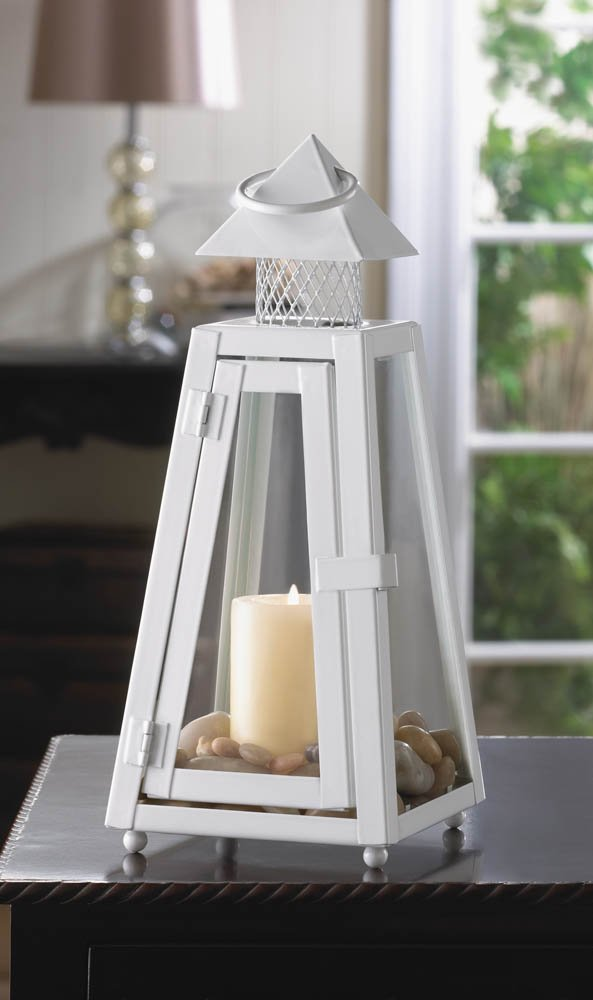 Image 0 of Small White Summit Candle Lantern Pyramid Roof Clear Glass 11