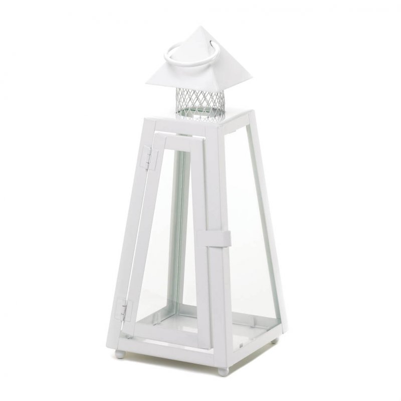 Image 1 of Small White Summit Candle Lantern Pyramid Roof Clear Glass 11