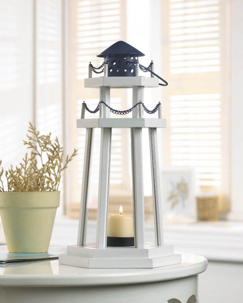 Image 0 of Lighthouse Point Wooden Lantern White w/ Blue Metal Top Nautical Decor