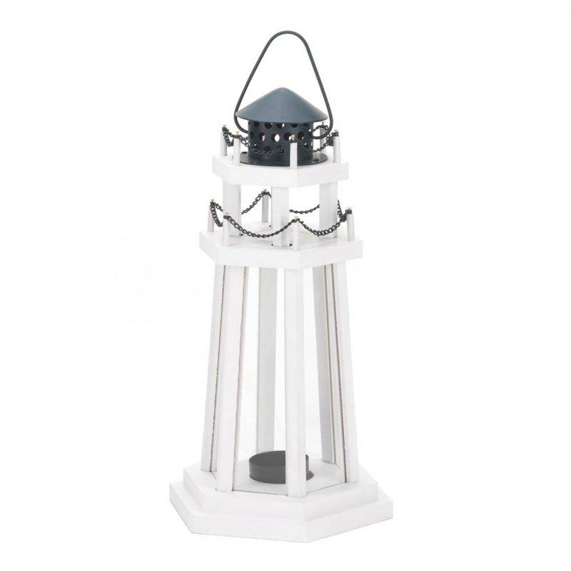 Image 1 of Lighthouse Point Wooden Lantern White w/ Blue Metal Top Nautical Decor