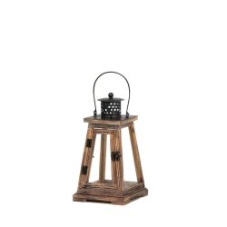 Ideal Pyramid Design Lantern Wood w/ Clear Glass Over-Sized Roof Small 12 High