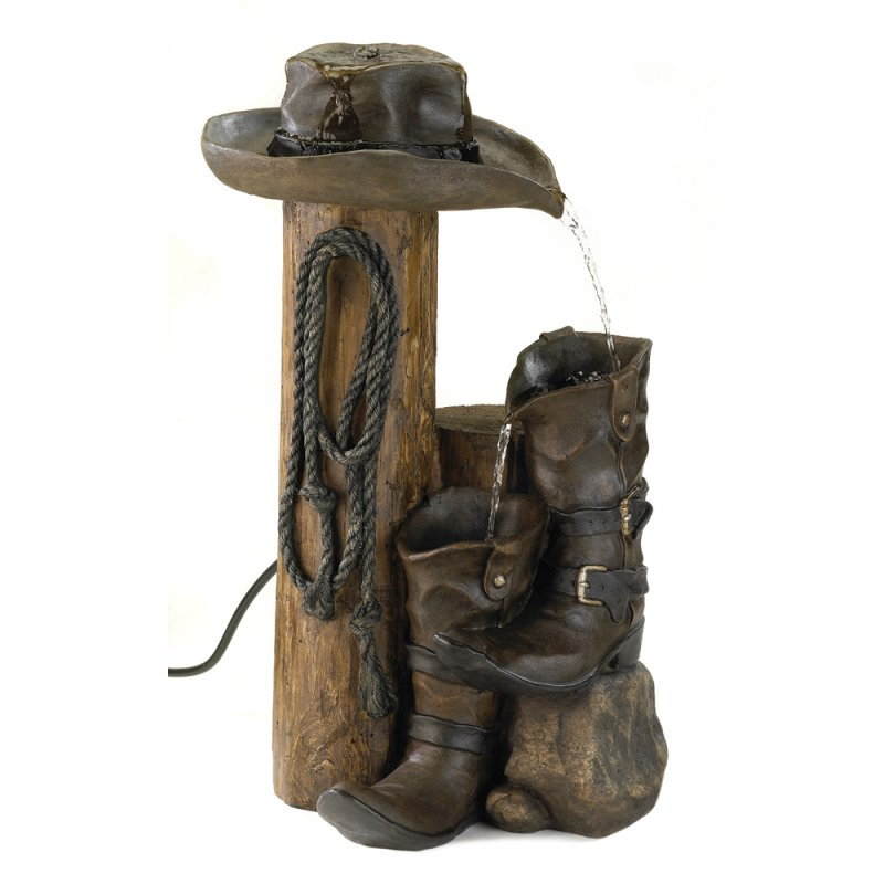 Image 1 of Garden Water Fountain Wild West Ranch Style Cowboy Styling Weathered Finish