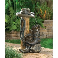 Garden Water Fountain Wild West Ranch Style Cowboy Styling Weathered Finish