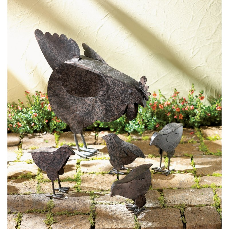 Image 1 of Mother Hen and 4 Chicks Garden Statue Rustic Finish Metal