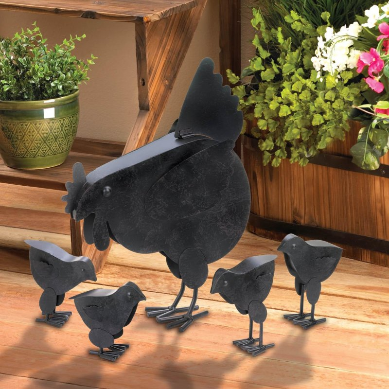 Image 0 of Mother Hen and 4 Chicks Garden Statue Rustic Finish Metal