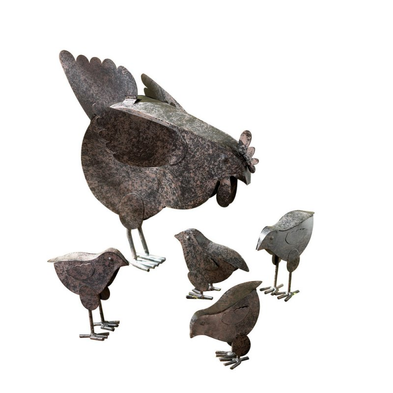 Image 2 of Mother Hen and 4 Chicks Garden Statue Rustic Finish Metal