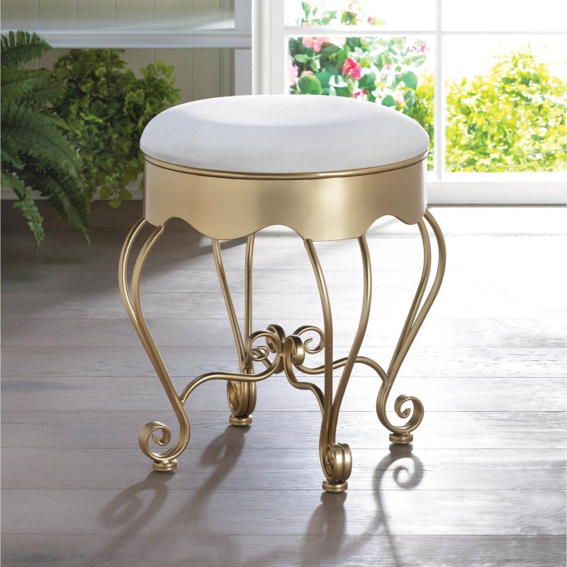 Image 0 of Golden Scrollwork Vanity Stool w/ White Cotton Seat