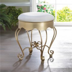 Golden Scrollwork Vanity Stool w/ White Cotton Seat