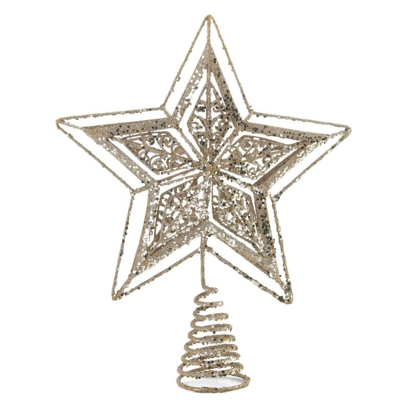 Image 0 of Star Shaped Tree Topper Sparkling Gold Finish Metal 10.2