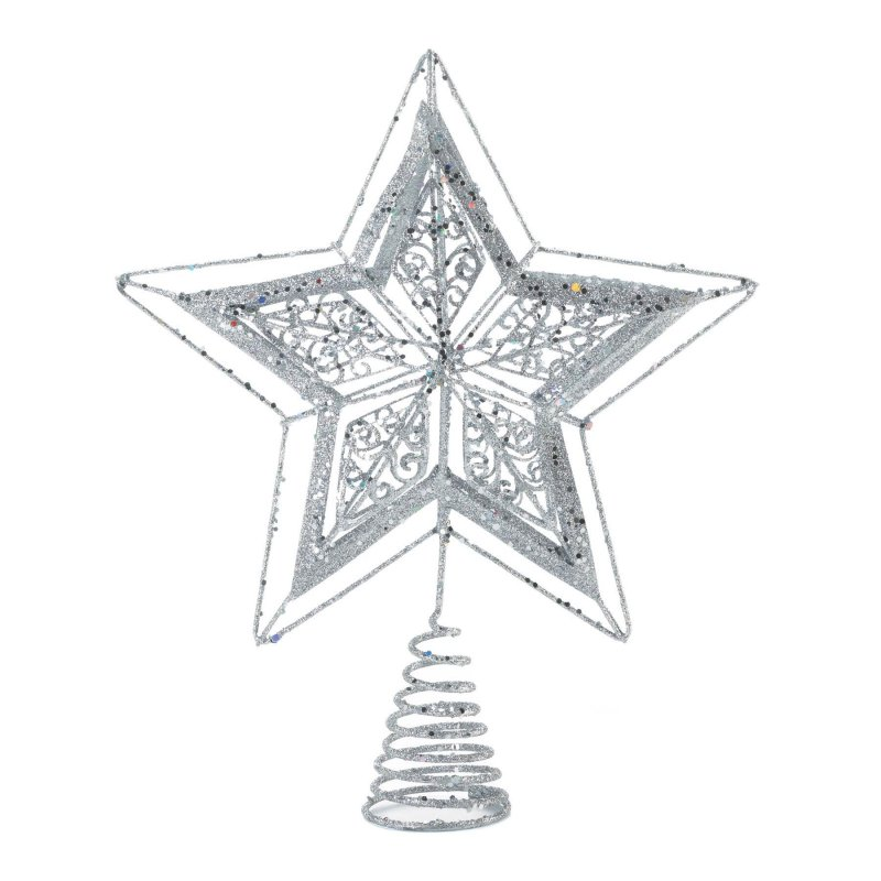 Image 0 of Star Shaped Tree Topper Sparkling Silver Finish Metal 10.2