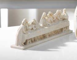 Detailed Last Supper Figurine w/ Speckled Ivory Finish
