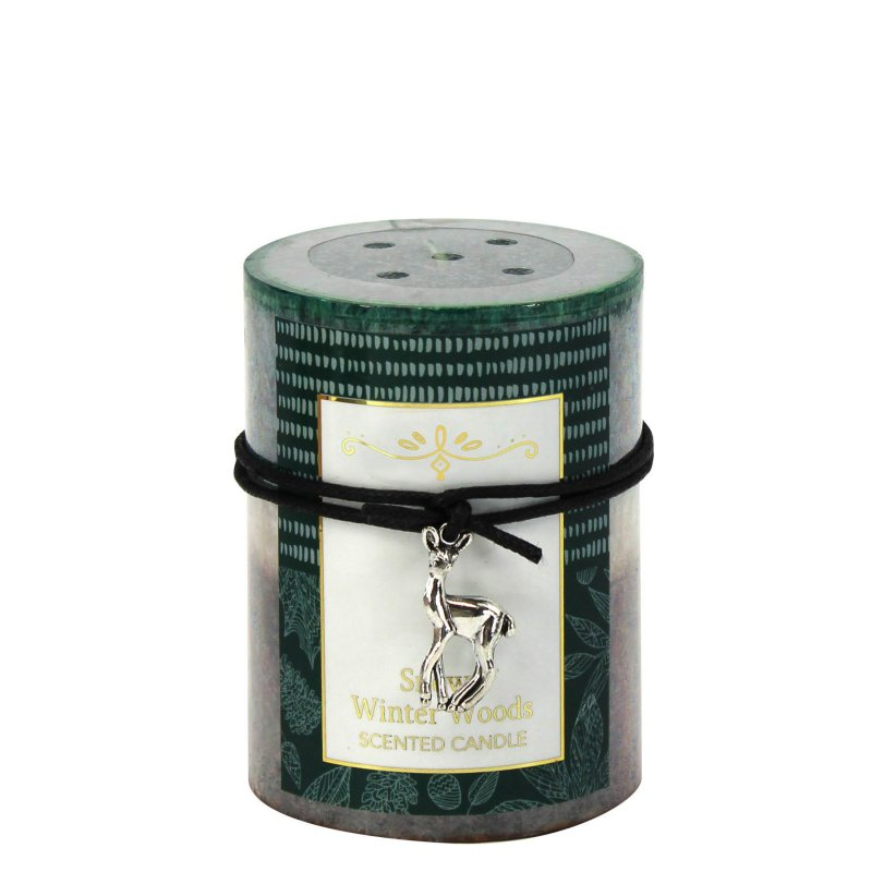 Image 0 of 3 x 4 Pillar Candle Snowy Winter Woods Scented 60 Hours Burn Time