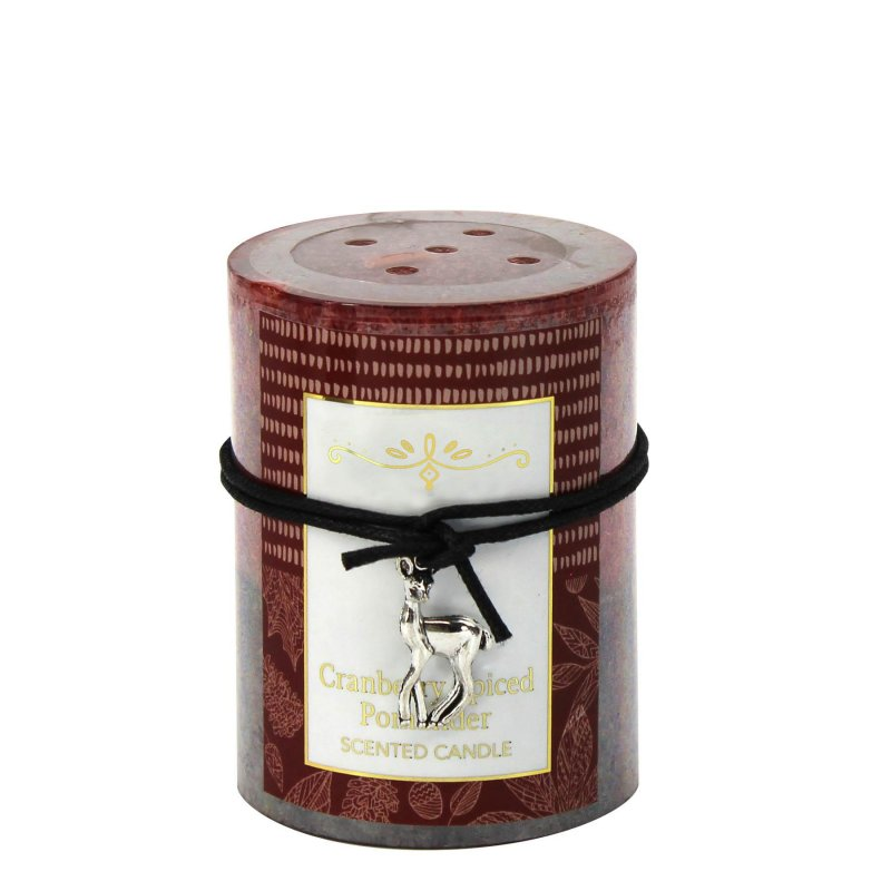 Image 0 of 3 x 4 Pillar Candle Cranberry Spiced Scented 60 Hours Burn Time