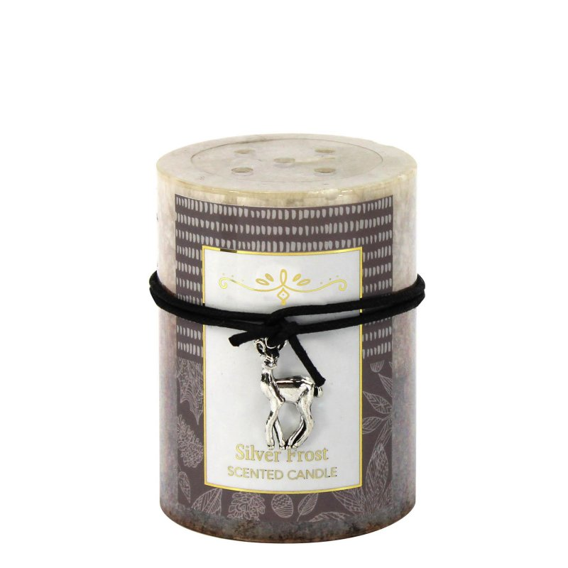 Image 0 of 3 x 4 Pillar Candle Wintery Silver Frost  Scented 60 Hours Burn Time