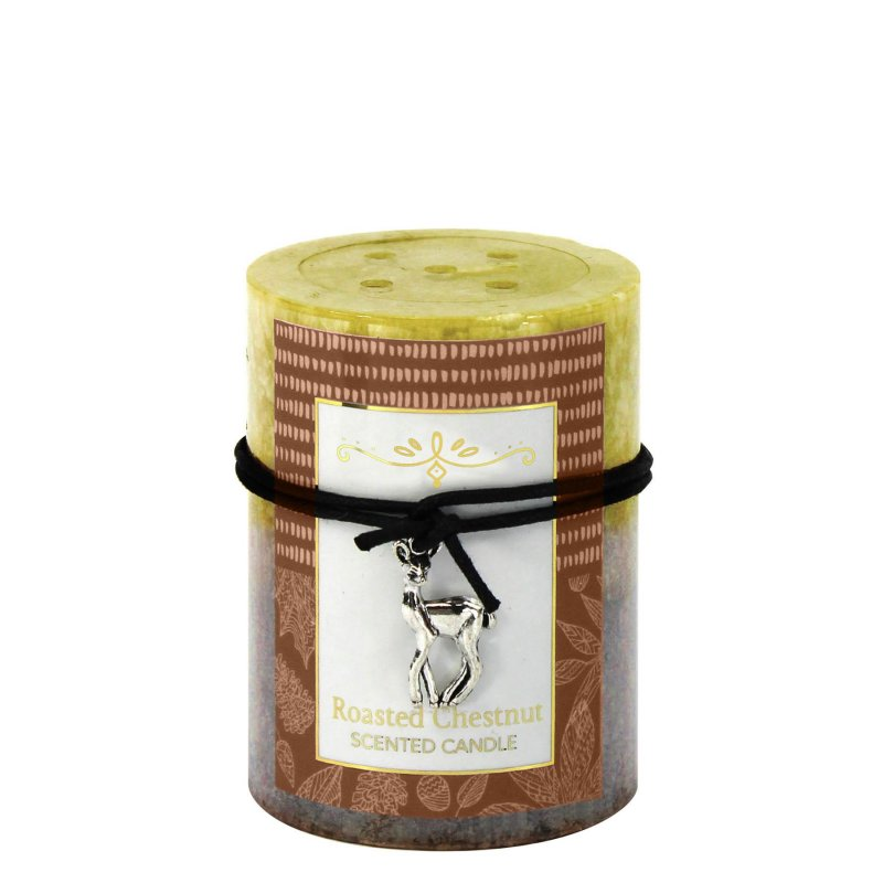 Image 0 of 3 x 4 Pillar Candle Roasted Chestnuts Scented 60 Hours Burn Time