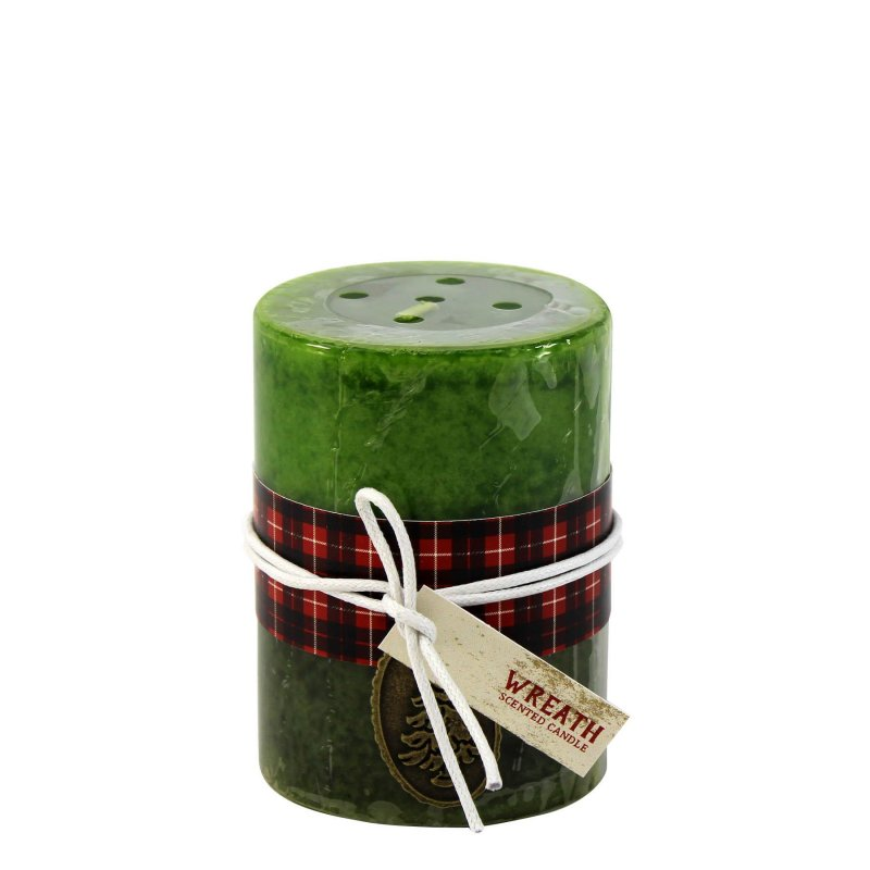 Image 0 of 3 x 4 Pillar Candle Holiday Wreath Scented 60 Hours Burn Time