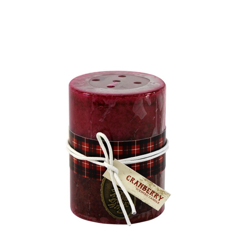 Image 0 of 3 x 4 Pillar Candle Holiday Cranberry Scented 60 Hours Burn Time