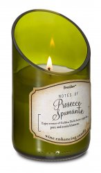 Green Glass Wine Bottle Prosecco Scented Candle 40 hr Burn Time