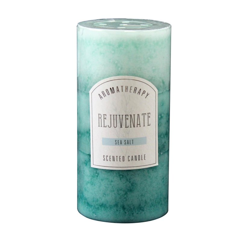 Image 0 of 3 x 6 Pillar Candle Sea Salt Scented Rejuvenate Aroma Therapy 90 Hours Burn Time