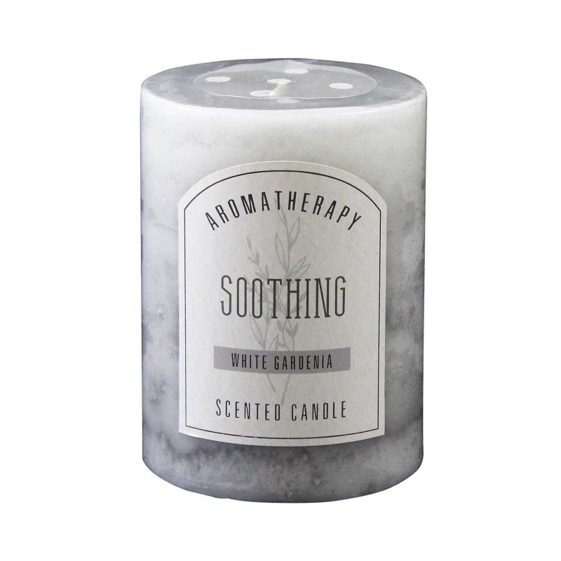 Image 0 of 3 x 4 Pillar Candle White Gardenia Scented Soothing Aroma Therapy 60 Hr Burn