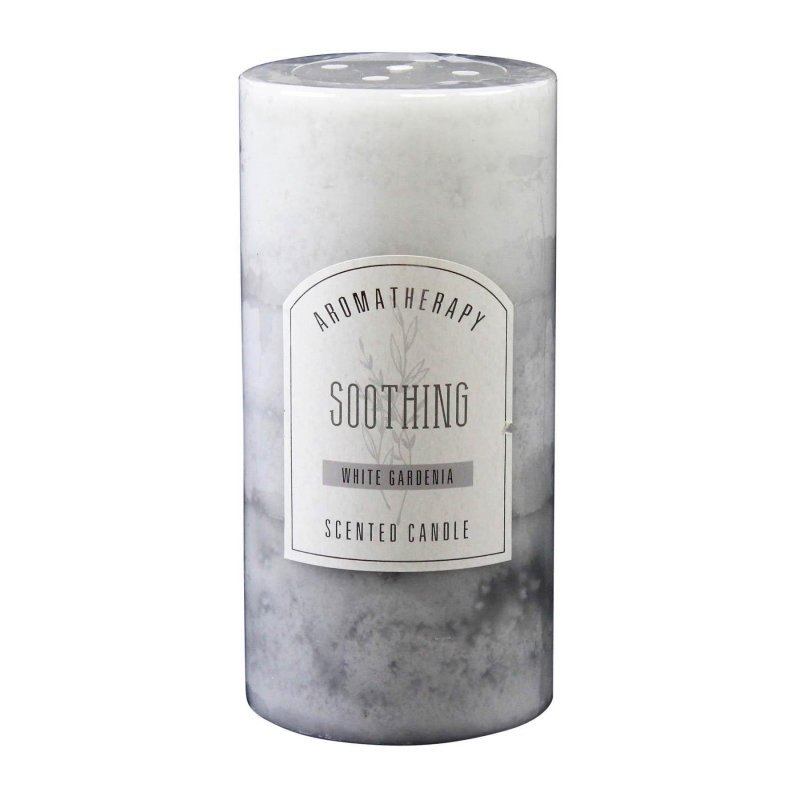 Image 0 of 3 x 6 Pillar Candle White Gardenia Scented Soothing Aroma Therapy 90 Hr Burn
